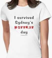 I survived Sydney's hottest day (Tee) black text Women's Fitted T-Shirt