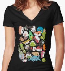 Sushi Bar: The point of Nori-turn Women's Fitted V-Neck T-Shirt