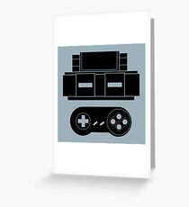 Let's Play SNES (Black) Greeting Card