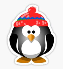 Adorable Penguin Wearing a Knitted Hat Sticker