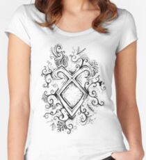 Angelic Rune Mandala Women's Fitted Scoop T-Shirt