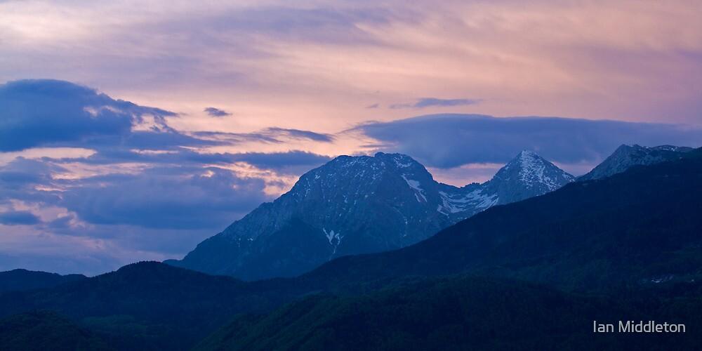 Kamnik Alps at sunset by Ian Middleton