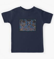 marbled paper - blue mushroom 2 layer Kids Tee