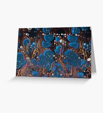 marbled paper - blue mushroom 2 layer Greeting Card