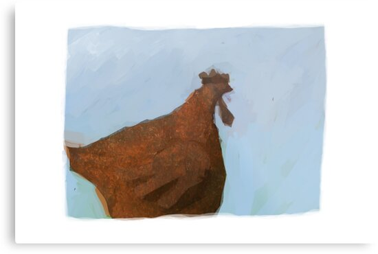 Painting of a rusty red chicken on blue by astralsid