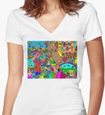 Rabbits on Vacation Women's Fitted V-Neck T-Shirt