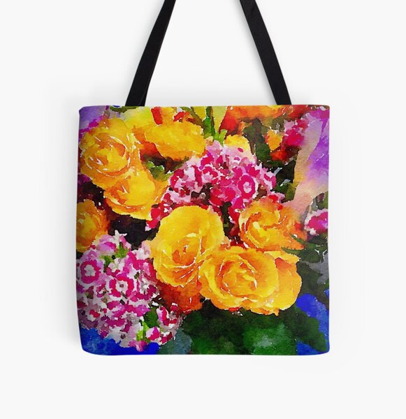 Watercolor Bouquet All Over Print Tote Bag