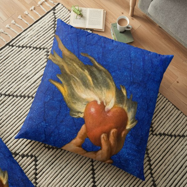 Heart on Fire Floor Pillow