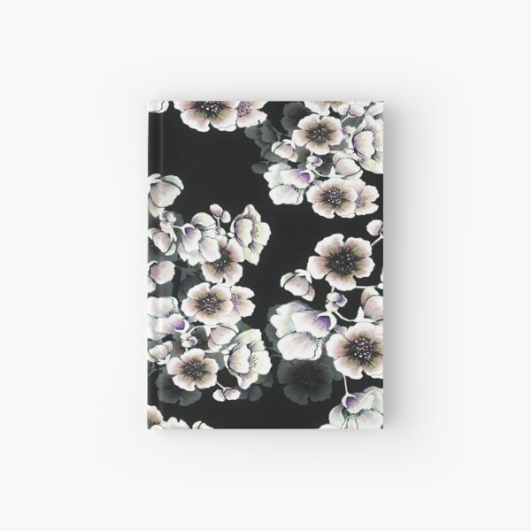Cherry Blossoms Floral Print on Black Hardcover Journal