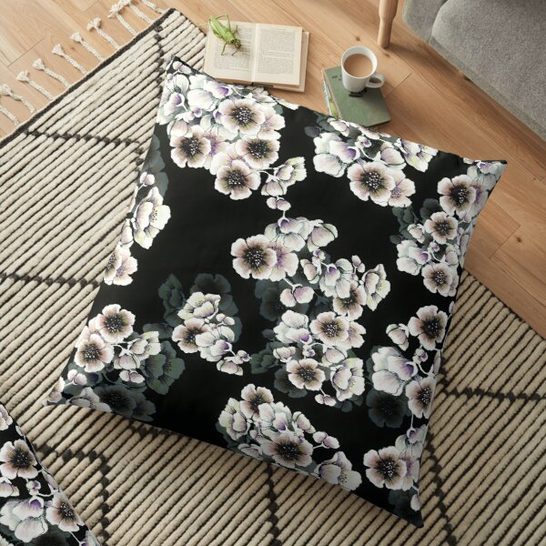 Cherry Blossoms Floral Print on Black Floor Pillow