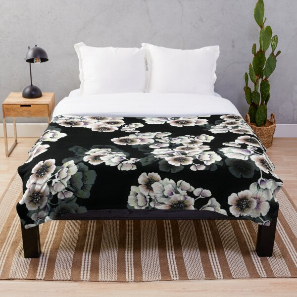 Cherry Blossoms Floral Print on Black Throw Blanket