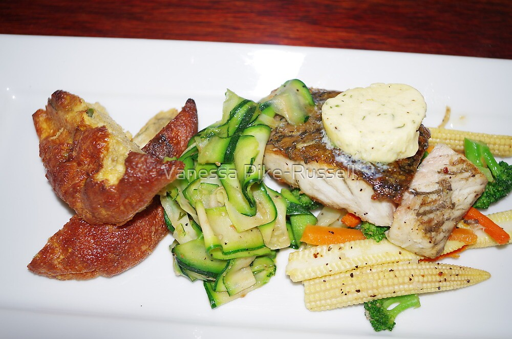 Barramundi with garlic butter and vegetables by Vanessa Pike-Russell