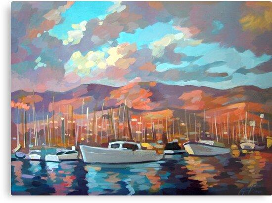 Boats in Santa Barbara by Filip Mihail