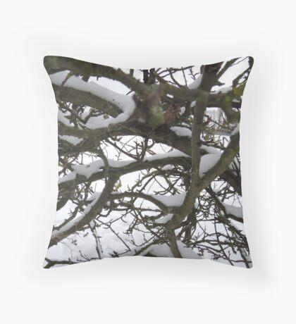 Through winter branches Throw Pillow