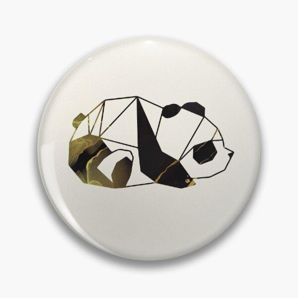 Black and Gold Geometric Panda Pin