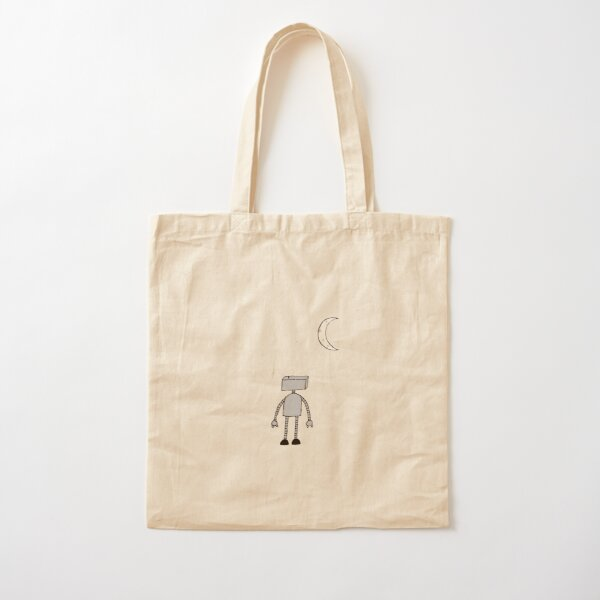 Robot Staring Up At Moon Cotton Tote Bag