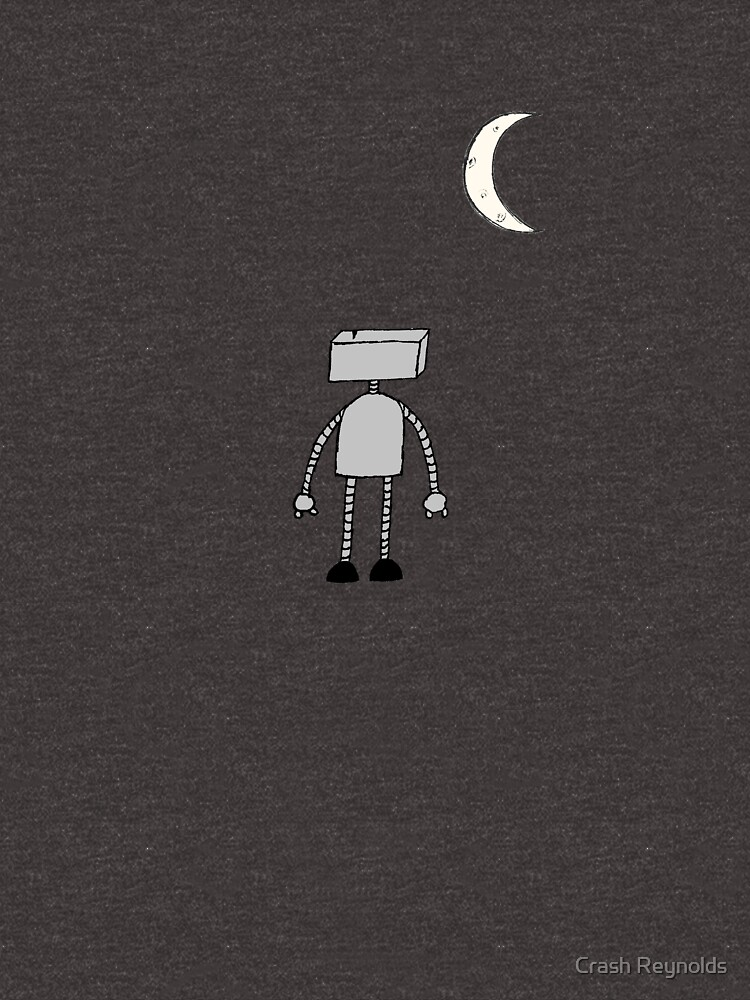 Robot Staring Up At Moon by indeliblecrash