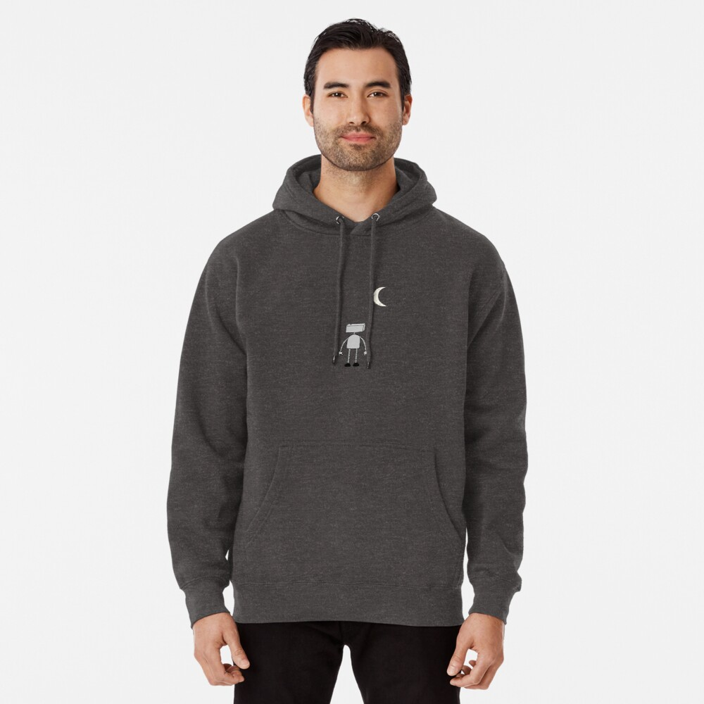 Robot Staring Up At Moon Pullover Hoodie