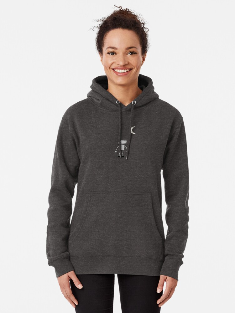 Alternate view of Robot Staring Up At Moon Pullover Hoodie