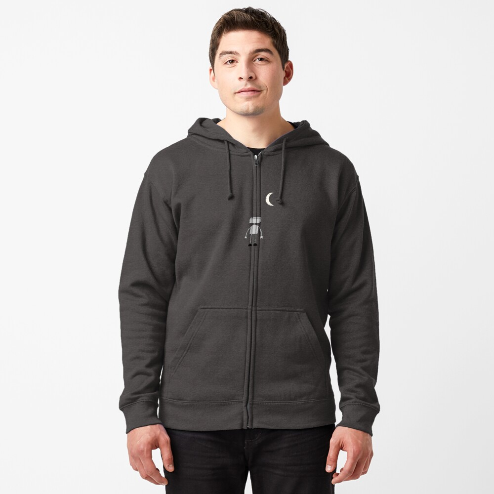 Robot Staring Up At Moon Zipped Hoodie