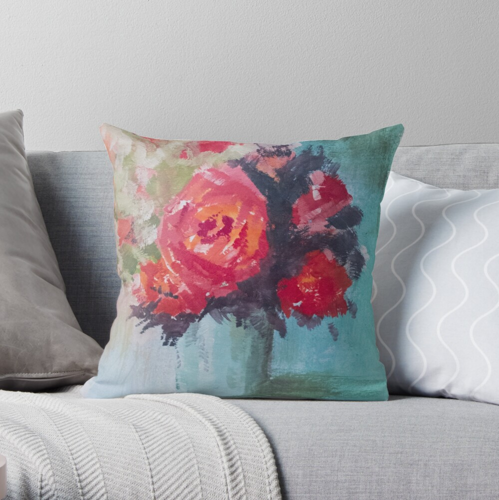Vase of Roses Throw Pillow