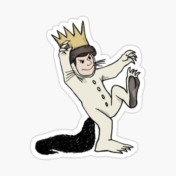 Where the wild things are and funny cartoon  design  Sticker