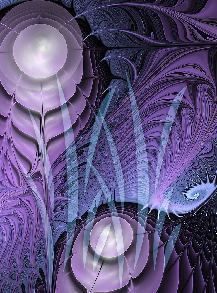 Winter moon, abstract fractal wallart by walstraasart