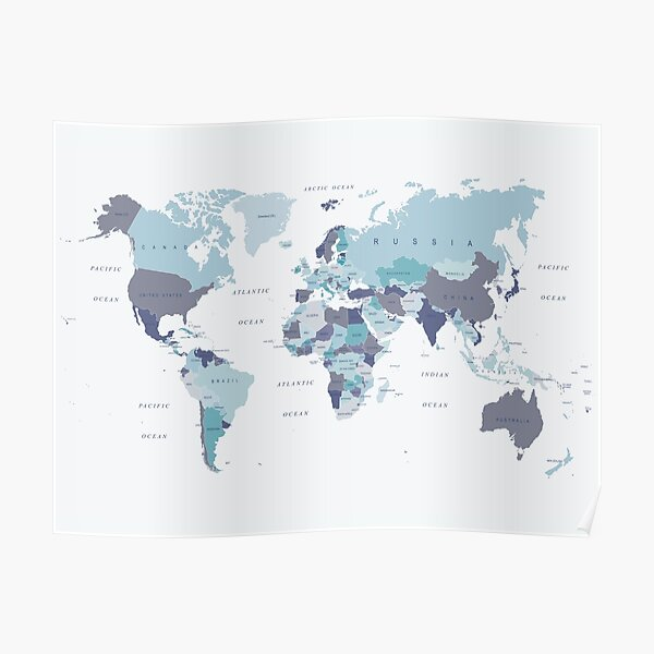 World Map in Blue Poster
