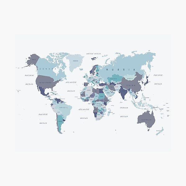 World Map in Blue Photographic Print