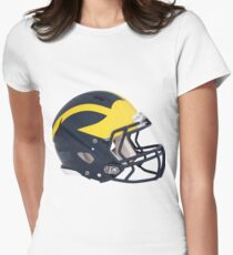 Wolverines Winged Football Helmet Womens Fitted T-Shirt