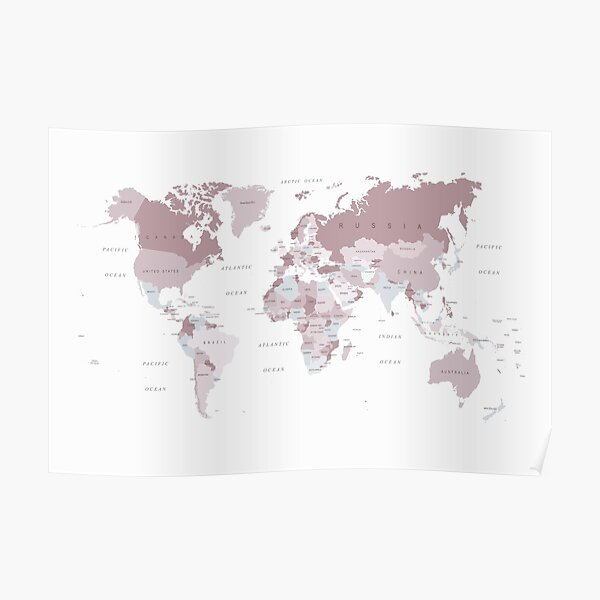 World Map in blush pink and grey Poster