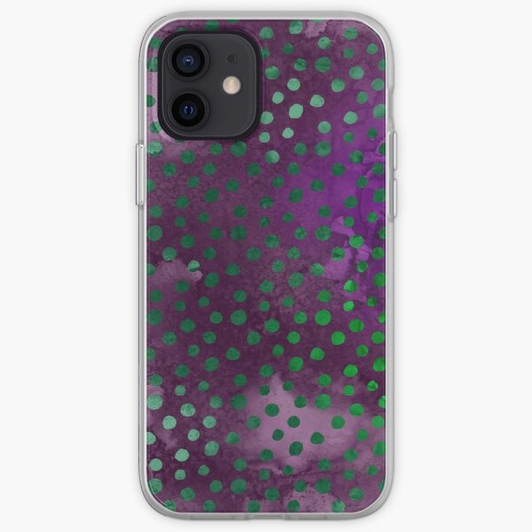 Purple and Green Dots iPhone Soft Case