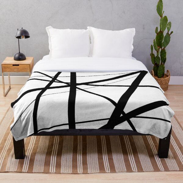 Black and White Geometric Lines Throw Blanket