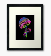 Shrooms - pink/blue/green/purple Framed Print