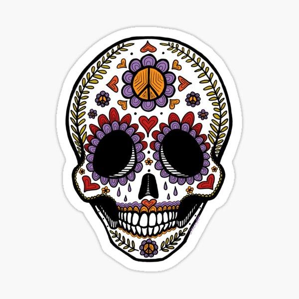 Love & Peace Sugar Skull Sticker