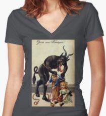 Camiseta entallada de cuello en V Saludos Krampus