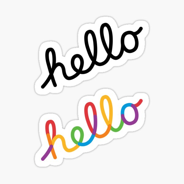High Quality WWDC 2020 hello black and rainbow Sticker