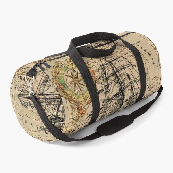 vintage pirate ship sailor antique world map  Duffle Bag