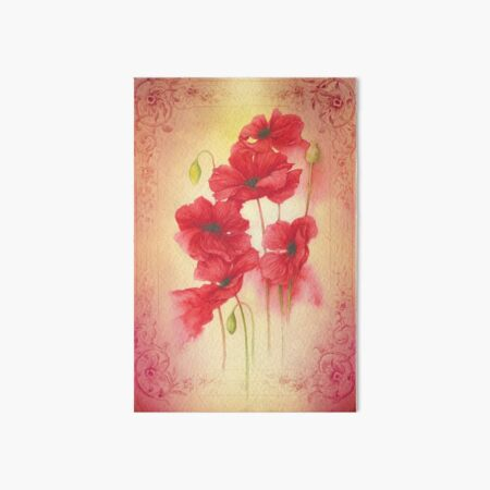 Botanical print, on old book page - poppies Art Board Print