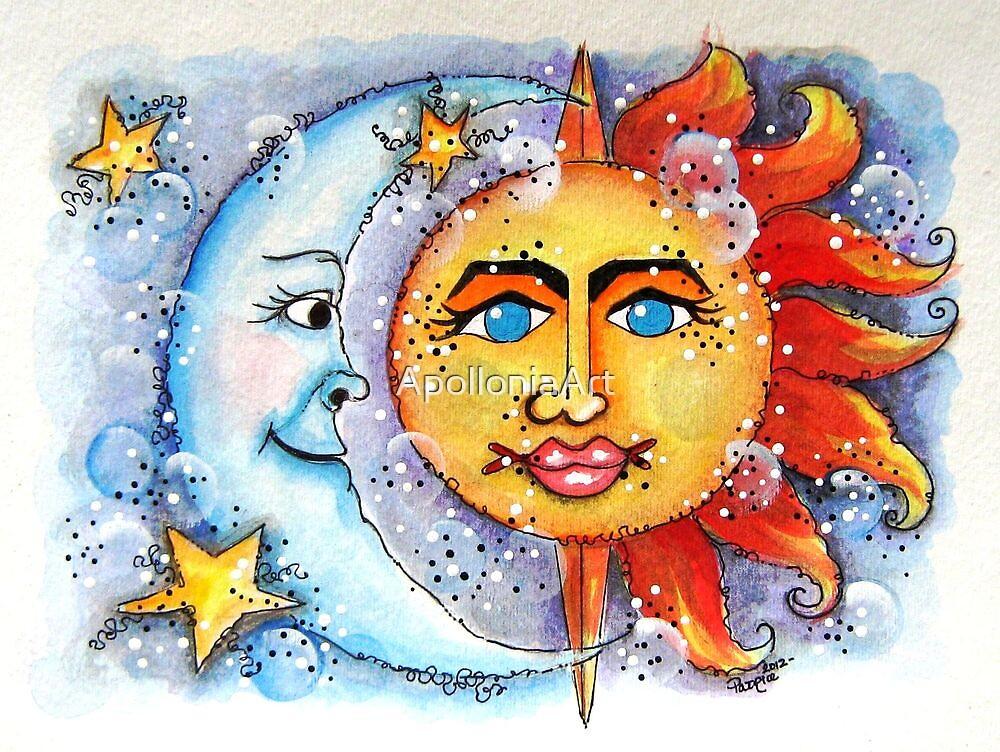 Celestial Sun and Moon by ApolloniaArt