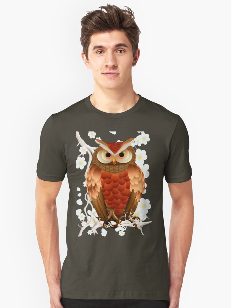 Bright Brown Owl-White Blooms Unisex T-Shirt Front