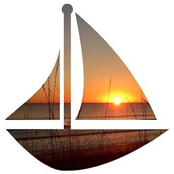 Sunset Sailboat by harringe