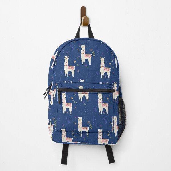 Llama on Blue Backpack