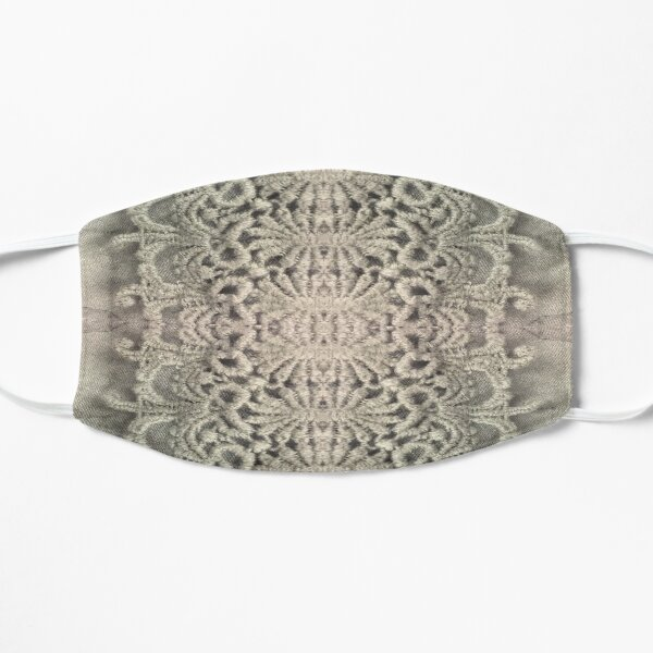 french country farmhouse bohemian tropical textile grey lace  Flat Mask