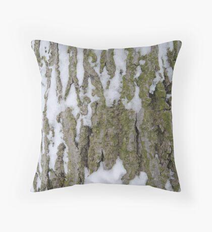 Snowy Bark Throw Pillow