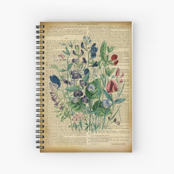 Botanical print, on old book page - garden flowers peas Spiral Notebook