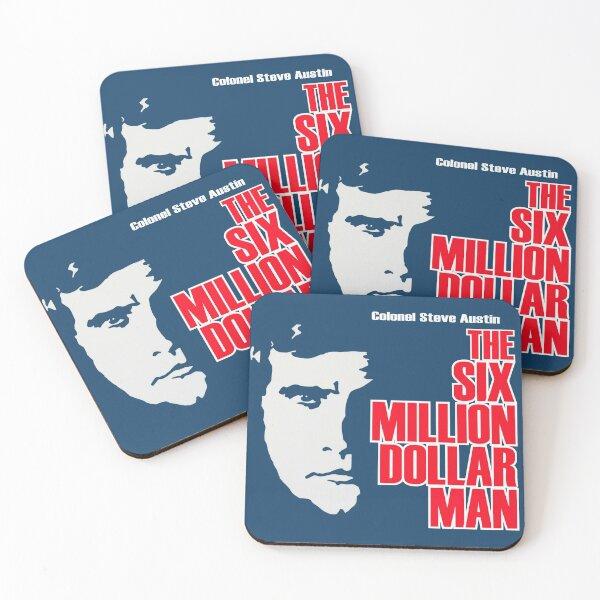 Six Million Dollar Man Shirt, Sticker, Mask Coasters (Set of 4)