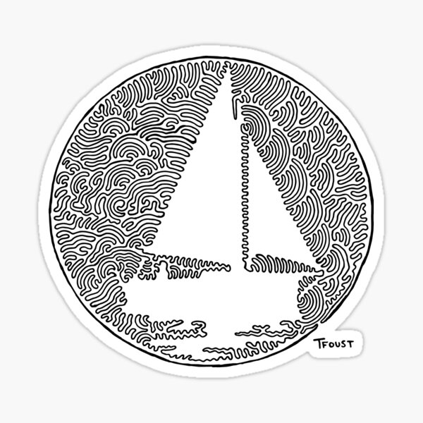 Sailing Paradise in one line  Sticker
