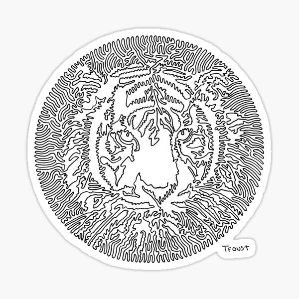 One Line Tiger Sticker