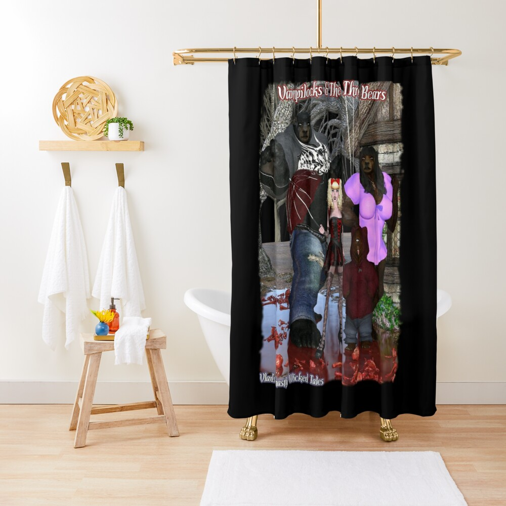 Ghastly Wicked Tales: Vampilocks & The Three Bears Shower Curtain